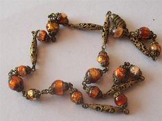 Antique Victorian Czech Foil Beaded Gorgeous Necklace Wonderful Colour | eBay