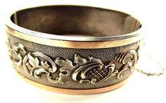 Antique French Silver & Gold Repoussé Bracelet / Bangle