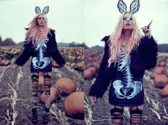 Anila from Germany does the monster mash-up: bunny ears, pumpkin patch, spike jewellery, laddered tights....