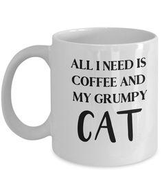 Grumpy Cat Mug, Cat Lady Mug, Mug for Cat Lady, Cat Lover Mug, Crazy Cat Lady Gift, Novelty Cat Lady Mug