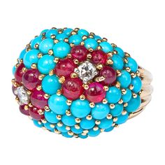 CARTIER Turquise Ruby Bombe Ring | 1stdibs.com