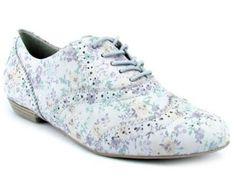 Ramarim 119201 Sapato Oxford em Couro Floral  Gelo  Ramar