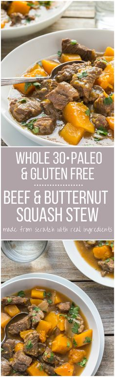 My Gluten Free Beef Stew Recipe with butternut squash is so easy to cook and it's also Paleo Whole 30 Gluten Free and Low Carb! Made from scratch in one pot with simple ingredients. Directions for cooking it in a slow cooker or crockpot included. Gluten Free Beef Stew Recipe, Paleo Recipes, Cooking Recipes, Paleo Soup, Soup Recipes, Squash Stew Recipe, Butternut Squash Stew, Paleo Whole 30, Dining