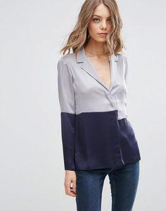 ASOS | ASOS Color Block Satin Pajama Blouse at ASOS