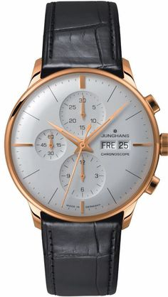 Junghans Watch Meister Chronoscope #bezel-fixed #bracelet-strap-alligator #brand-junghans #case-depth-13-9mm #case-material-rose-gold #case-width-40-7mm #chronograph-yes #date-yes #day-yes #delivery-timescale-call-us #dial-colour-silver #gender-mens #luxury #movement-automatic #official-stockist-for-junghans-watches #packaging-junghans-watch-packaging #style-dress #subcat-meister #supplier-model-no-027-7323-01 #warranty-junghans-official-2-year-guarantee #water-resistant-30m