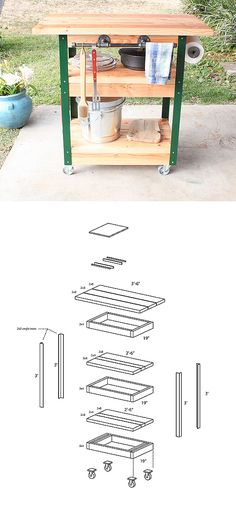This DIY grilling cart designed by Ben Uyeda gives you more prep space and… Diy Wood Projects, Outdoor Projects, Furniture Projects, Home Projects, Wood Crafts, Diy Furniture, Grill Table, Grill Cart, Outside Furniture