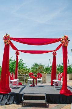 red floral mandap - Indian Interfaith Wedding | Priscilla Thomas Photography