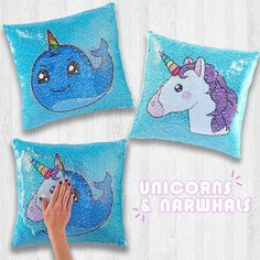 This years top choice gift for teens, tweens and kids. Swipe left and right to change the image from a unicorn to a narwhale! Tween Gifts, Gifts For Teens, Le Slime, Unicorn Room Decor, Mermaid Pillow, Xmas Wishes, Unicorn Invitations, Pillow Inspiration, Sequin Pillow