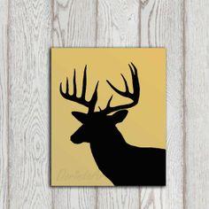 Deer art print Deer head decor Stag antlers by DorindaArt on Etsy, $5.00