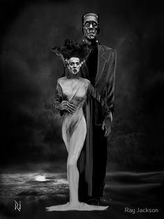 Frankenstein and his bride Halloween Photos, Halloween Art, Vintage Halloween, Halloween Recipe, Halloween Cupcakes, Costume Halloween, The Crow, Dibujos Dark, Frankenstein Art