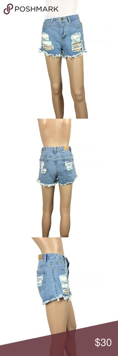 Light wash high waist denim distressed shorts Light wash denim high waisted shorts. Size small. Fringe/fraying on bottom hems - came that way. Have been washed and worn. Can see through the distressing in front to the pockets. Shorts Jean Shorts