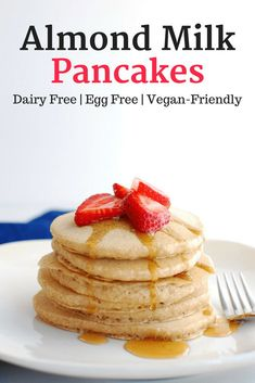 Easy Almond Milk Pancakes (Dairy Free and Eggless) Step up your morning breakfast with a big 'ol stack of these delicious almond milk pancakes. They're dairy free and eggless pancakes, yet still stay fluffy, light, and tasty! A great vegan pancake recipe. Vegan Pancake Recipes, Almond Milk Recipes, Waffle Recipes, Whole Food Recipes, Eggless Pancake Recipe, Vegan Recipes, Almond Milk Pancakes, Dairy Free Pancakes, Pancake Recipe Using Almond Milk