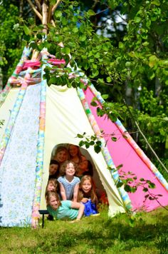 I will have this in my backyard....or living room. Wherever it fits! Twig and Toadstool: Scrap Fabric Teepee-Part Two