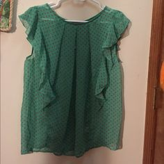 NWT Ya blouse NWT Ya Los Angeles Blouse. Green with pink polka dots. Ruffled. Never worn. Very summery look!  It's thin so it would be cool for a hot summer day. Smooth material. Size large. Ya Los Angeles Tops Blouses