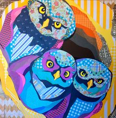 """""""Who, Us?""""  by Laura Yager. Cut paper collage on 30""""x30"""" deep cradled panel. Owl artwork"""