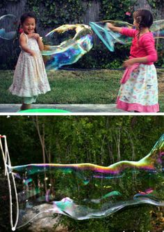 Make Giant Bubbles | Click Pic for 19 DIY Summer Crafts for Kids to Make | Easy Summer Activities for Kids Outside
