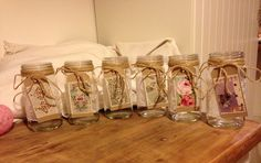 Centre piece, preserving jars, jute string and fabric labels