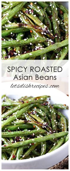 Spicy Roasted Asian Green Beans Spicy Roasted Asian Green Beans Recipe: Fresh green beans are roasted in a sweet and spicy soy sauce mixture, then finished off with a garnish of sesame seeds in this unique side dish everyone will love! Spicy Recipes, Veggie Recipes, Asian Recipes, Healthy Recipes, Recipes With Sesame Oil, Recipes With Ginger, Green Vegetable Recipes, Asian Green Beans, Spicy Green Beans