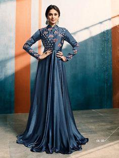 Graysish Blue Satin Silk New design Anarkali Dress Patterns With Price Indian Evening Gown, Indian Long Dress, Indian Gowns, Pakistani Dresses, Evening Gowns, Bollywood Dress, Indian Designer Outfits, Designer Gowns, Indian Outfits