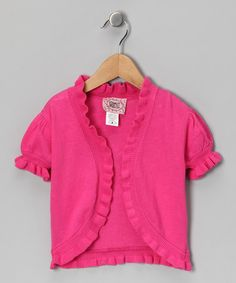 Love this Fuchsia Open Cardigan - Girls by Barrel Sportswear on #zulily! #zulilyfinds