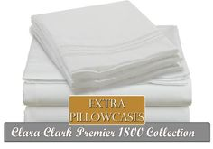 Clara Clark ® Premier 1800 Collection 6 Piece Bed Sheet Set, Includes Extra Pillowcases, King Size, White