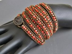Orange And Brass Combo Bracelet by Ravit on Etsy, $45.00