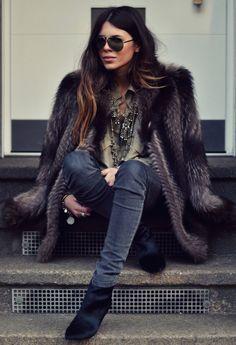 fur coat and caqui blouse