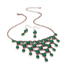 Ladies Green Bead Burnished Copper Effect Necklace and Earring Set