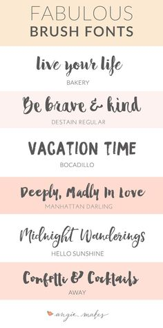 Fabulous Brush Fonts! Gosh, I love a good font roundup. This collection includes some pretty sweet free brush fonts that are perfect for your next design project whether it's a wedding invite or a blog header. The limits are pretty endless eh?