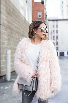 Pastel pink faux fur coat