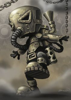 Steampunk Character WIP 3 by craig bruyn. A bit more progress on my little steampunk character, frolicking throught the steam and smoke. Robots Steampunk, Steampunk Kunst, Steampunk Artwork, Steampunk Characters, Steampunk Wallpaper, Steampunk Drawing, Robots Characters, Fictional Characters, Arte Robot