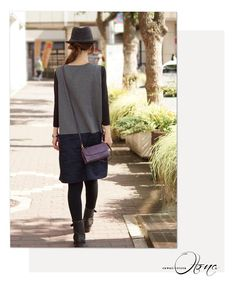 cute two color tunic with pockets... Simple but effective. Cawaii