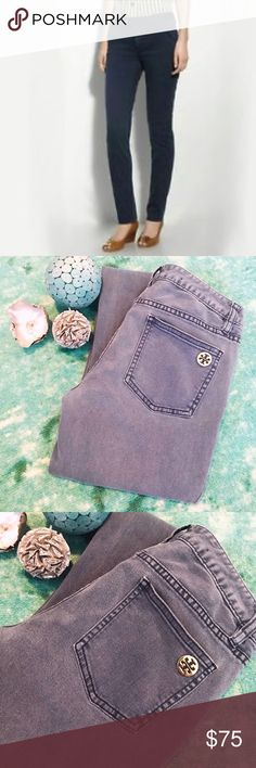 TORY BURCH super skinny jean Tory Burch super skinny jean with tab front and gold button. Beautiful and comfortable jean. Has an inseam of 33 and rise of 8. Never altered. Navy blue washed color. Tory Burch Jeans Skinny