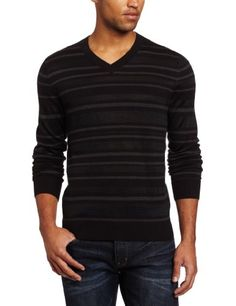 Save $39.01 on Kenneth Cole Men`s Stripe V-Neck Sweater; only $40.99 + Free Shipping