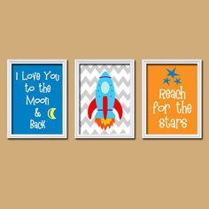 I Love You to the Moon & Back Quote Rocket Space Stars Chevron Spaceship Set of 3 Trio Prints Wall Decor Art Child Crib Nursery Picture on Etsy, $26.74 AUD