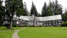 Lake Quinault Lodge in Quinault, Washington. This 1926 hotel where President Franklin D. Roosevelt once dined offers guestrooms with the smaller, sparser furnishings of an era when the idea was to spend time hiking in the rain forest or paddling at sunrise on the glass smooth lake. Guests can curl up next to the lobby's roaring fire, relax in Adirondack chairs at sunset, and stroll the rolling lawn.  #travel #hotel #aaa
