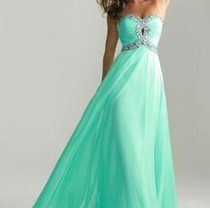 Beautiful mint green prom dress
