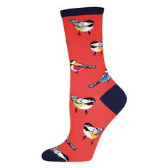 You'll be the belle of the bird-watching ball in these chickadee women's crew socks.
