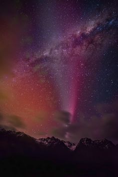 Aurora Borealis, in Violet, against the Milky Way.
