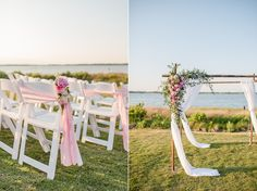 Ceremony details with pink and green accents at the Country Club of the Crystal Coast in Pine Knoll Shores NC. Photos by Cynthia Rose Photography