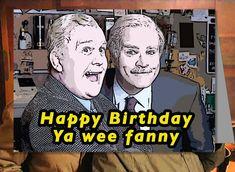 "Still Game Jack and Victor funny ""Happy birthday ya wee fanny"" Scottish birthday card. Designed by BlackSheepDesignsGB. Merry Christmas Funny, Christmas Humor, Happy Valentines Day Funny, Funny Happy, Still Game Memes, Jack And Victor, Funny Birthday Cards, Happy Birthday, British Comedy"