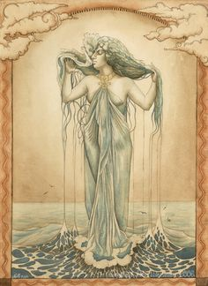 "In Norse mythology, Rán (Old Norse ""sea"") is a sea goddess. According to Snorri Sturluson's Prose Edda book Skáldskaparmál, in his retelling of the Poetic Edda poem Lokasenna, she is married to Ægir and they have nine daughters together. Snorri also reports that she had a net in which she tried to capture men who ventured out on the sea:"