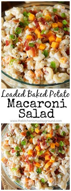 Loaded Baked Potato Macaroni Salad Love that classic loaded baked potato combination of sour cream, chives, cheese, and bacon? Enjoy it in a new delicious way in this Loaded Baked Potato Macaroni Salad! Pastas Recipes, Top Recipes, Side Dish Recipes, Cooking Recipes, Easy Recipes, Cooking Games, Recipies, Potato Pasta, Loaded Baked Potatoes