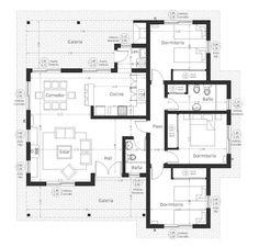 Home Design Plans, Plan Design, Small House Plans, House Floor Plans, Flat Roof House, Three Bedroom House Plan, Architectural Floor Plans, Villa Plan, House Construction Plan