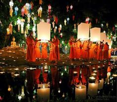 Loy Krathong festival in Thailand it's very nice and romantic