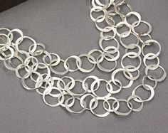 Sterling Silver Chain Statement Necklace Artisan Jewelry