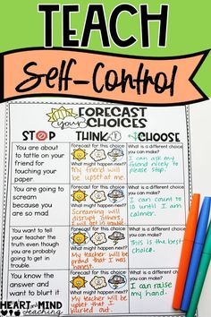 emotional control Teach self-control with this making good choices sorting activity. Students sort through positive and negatives choices and decide on alternative choices they could Social Skills Lessons, Social Skills Activities, Teaching Social Skills, Counseling Activities, Social Emotional Learning, Coping Skills, Therapy Activities, Life Skills, Therapy Worksheets
