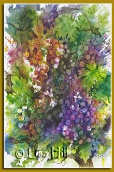 Watercolor Painting of grapes on the vine by Richland, WA Artist Lisa Hill