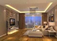 photo salon moderne blanc-pierre-bois-spots-lumineux