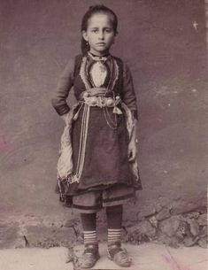 Little girl in a traditional costume from Dardha, Korça, Albania. Folk Costume, Costumes, Albanian Culture, Old Greek, Folk Clothing, Photographs Of People, Folk Fashion, Traditional Outfits, Old Photos